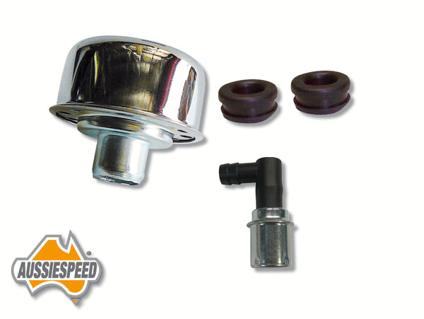 AS0035 Chrome Breather Cap PCV Valve Push In Style Kit