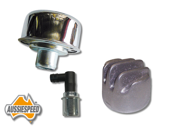 AS0035-SS507-189R Tall Finned Breather Cap PCV Valve Kit Hot Rod Style Raw