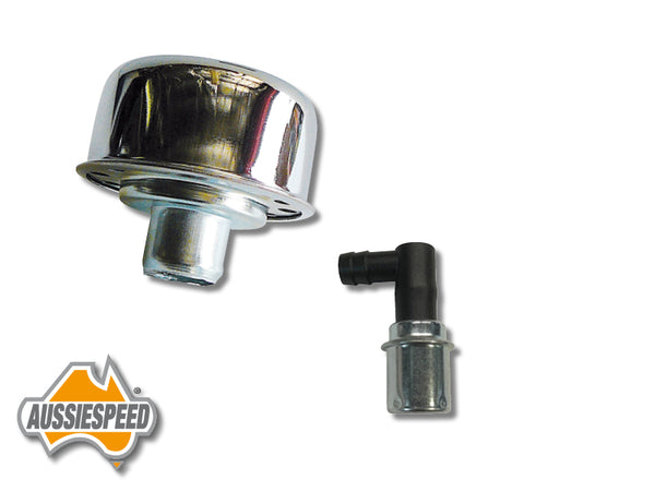 AS0035/SS507 Chrome Breather Cap PCV Valve Push In Style Kit