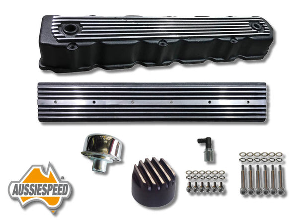 AS0008B + 7Hemi 6 Cylinder Alloy Rocker Cover + Side Plate Kit 7 Piece Black