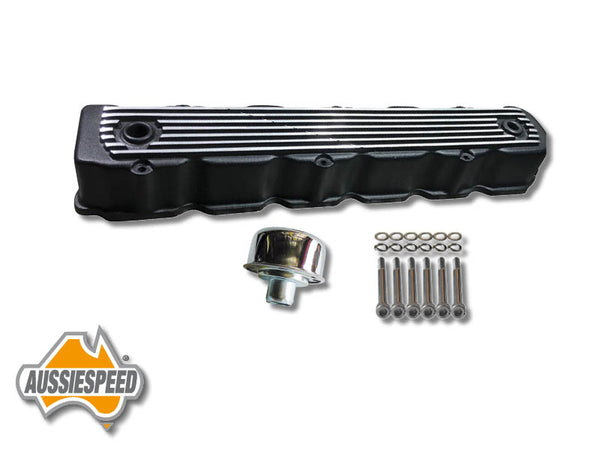 AS0008B Hemi Valiant 6 Cylinder Alloy Rocker Cover Chrome Cap + Bolt Set 3 Piece Black