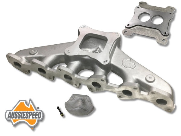 AS0012-AS0241-AS0574 Ford OHC EA to AU 6 4 Barrel Manifold with 2 Barrel adaptor