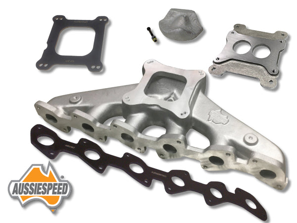 AS0012-AS0241-AS0197-AS0201-AS0574 Ford OHC EA to AU 6 4 Barrel Manifold with 2 Barrel adaptor