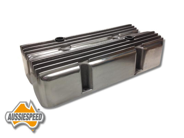 AS0058P Chevrolet Small Block Valve Covers Hot Rod Style Super Tall Polished