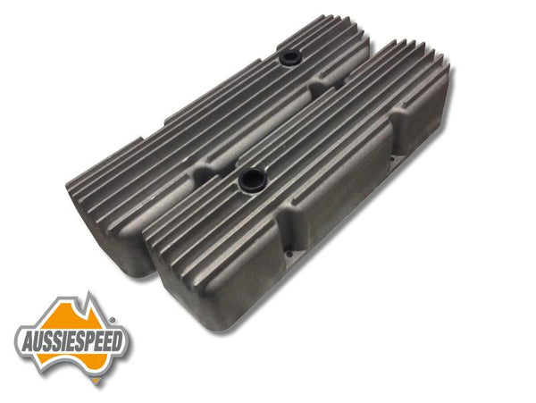 AS0058R Chevrolet Small Block Valve Covers Hot Rod Style Super Tall Raw