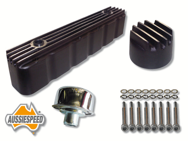 AS0096B-0264-0035-0195B Holden 6 Rocker Cover Finned Wrinkle Black Plus Bolts and Alloy Oil Cap