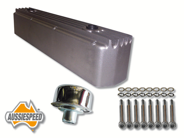 AS0096R Holden 6 Tall Rocker Cover Finned Raw Plus Bolt and Chrome Oil Cap