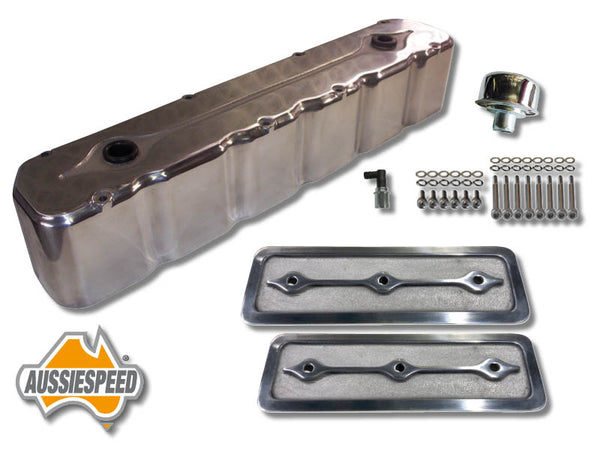 AS0097P-7 Holden 6 Tall Rocker Cover Finned Polished Full Kit 7 Piece