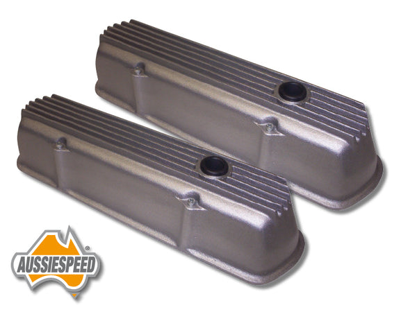 AS0100R Holden V8 253 308 Aussiespeed Tall Rocker Covers Finned Aluminium Raw Natural Finish
