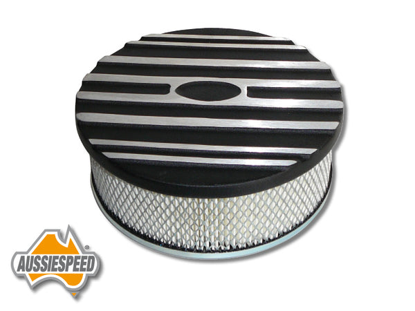 "AS0116BASS 9"" Ford Air Cleaner Lid Finned Aluminium Black Plus Steel Base"