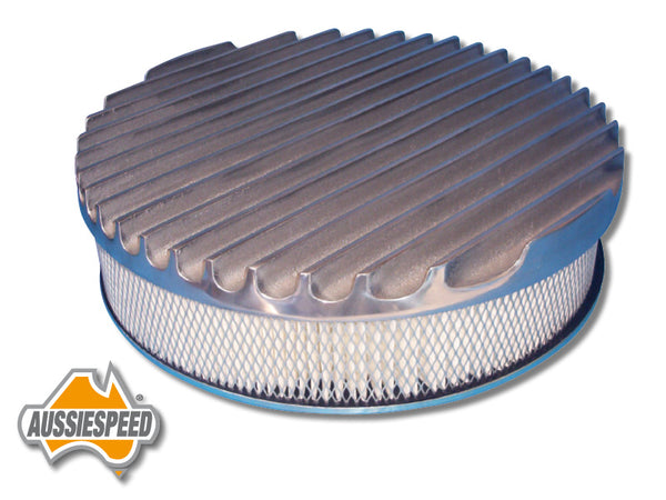 "AS0163PASS Aussiespeed® 14"" Big Fin Air Cleaner Top Polished"