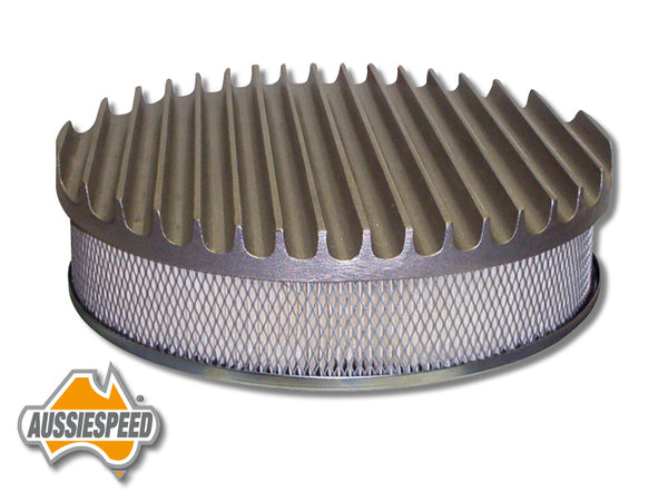 "AS0163RASS Aussiespeed® 14"" Big Fin Air Cleaner Top Raw"