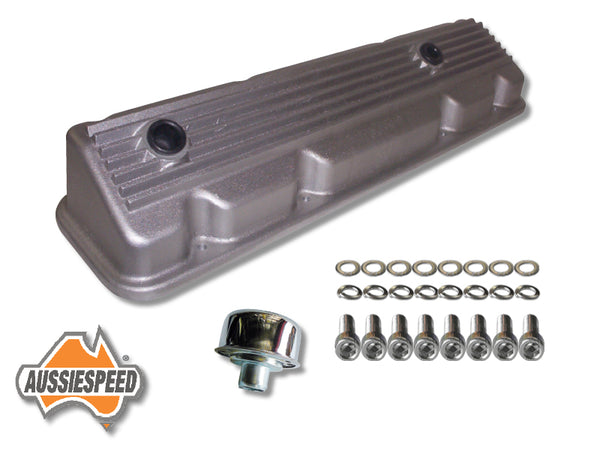 AS0170R-AS0523-AS0035 Slant 6 Chrysler Alloy Rocker Cover Raw Finish Finned Kit