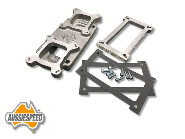 AS0591R Aussiespeed® GM 4/71 Supercharger 2x4 Carburettor Adapter Kit Raw