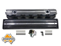 AS0544B-AS0436B Ford 240 300 3.9 Inline 6 Tall Aluminium Valve Cover Side Plate Black Finish  6 Piece Kit