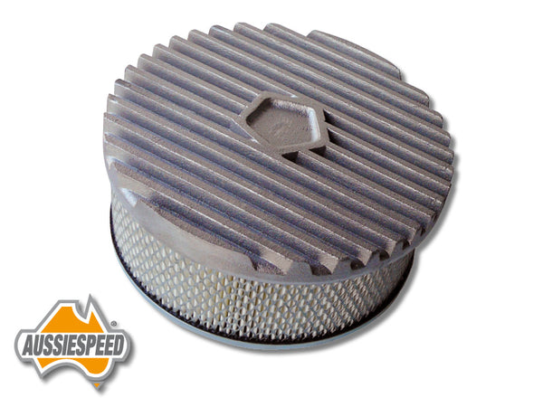 "AS0106RASS 9"" Hotrod Style Air Cleaner Lid Finned Aluminium Raw Plus Steel Base"