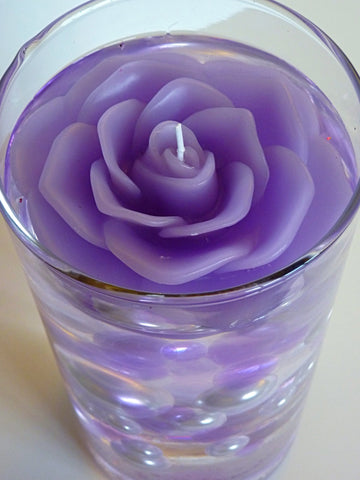 "3.75"" Lavender Flower Floating Candles. Set of 3-Unscented"