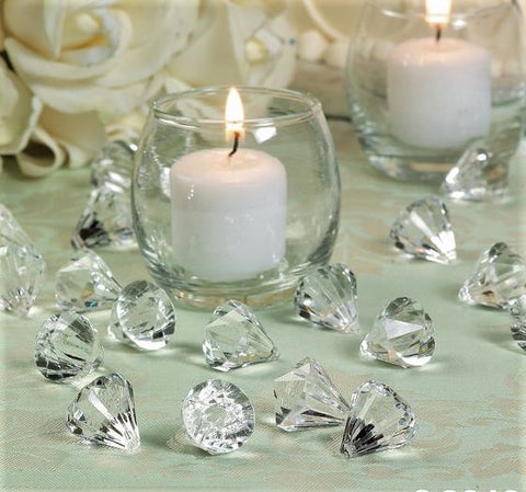*Clearance* 370 pc Clear Diamond Cut Accents  - David Tutera Bridal Collection for Vase Decorations and Table Scatter