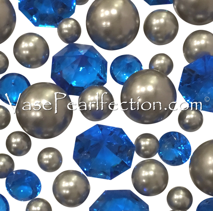 Floating Royal Blue Gems & Silver Pearls - No Hole Jumbo/Assorted Sizes Vase Decorations and Table Scatter