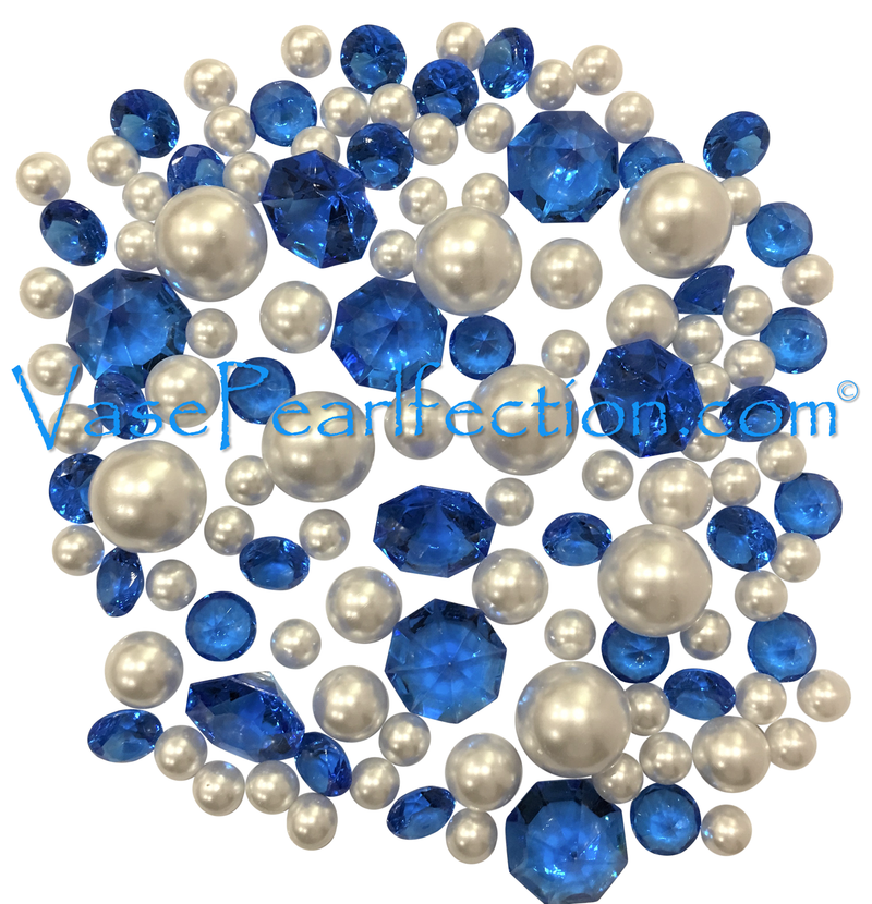 120 Floating Royal Blue Gems & White Pearls - No Hole Jumbo/Assorted Sizes Vase Decorations & Table Scatter