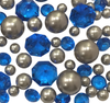 Royal Blue Gems and Silver Pearls - No Hole Jumbo/Assorted Sizes Vase Decorations and Table Scatter