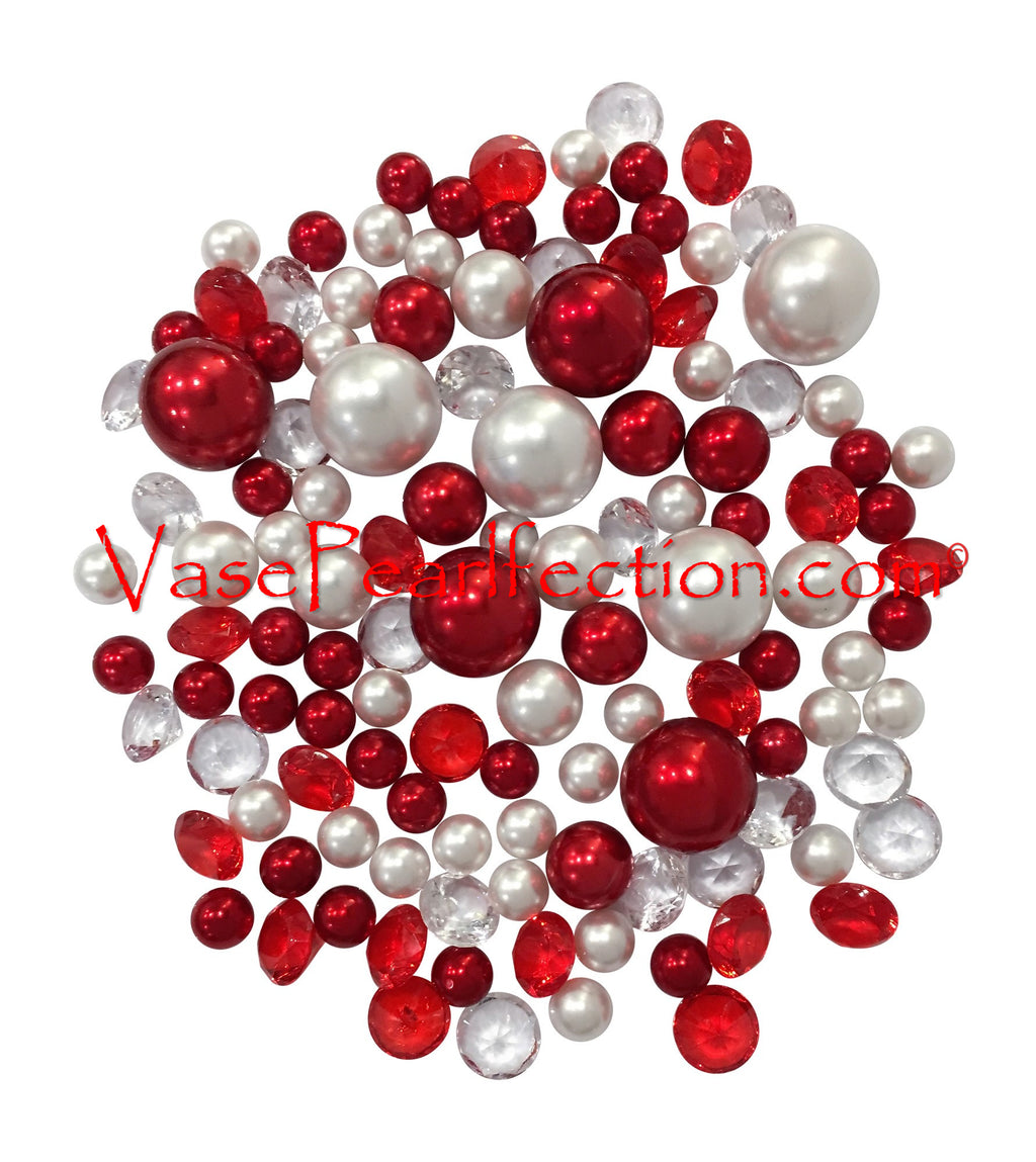 120 No Hole Red & White Pearls w/ Gems Accents-Jumbo/Assorted Sizes Vase Decorations and Table Scatters