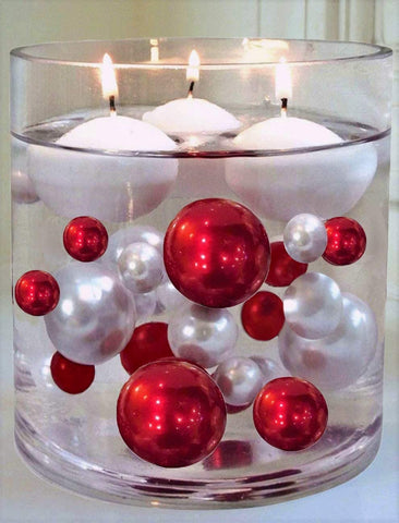 Floating Burgundy Pearls - No Hole Jumbo/Assorted Sizes Vase Decorations