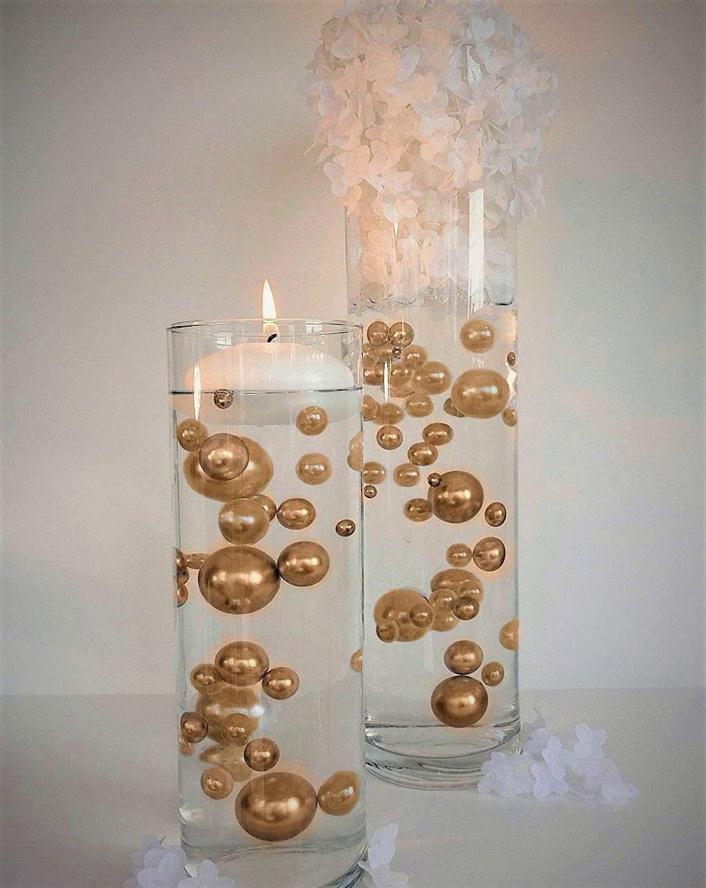 "3"" Gold Floating Candles. Set of 3 Candles-Unscented"