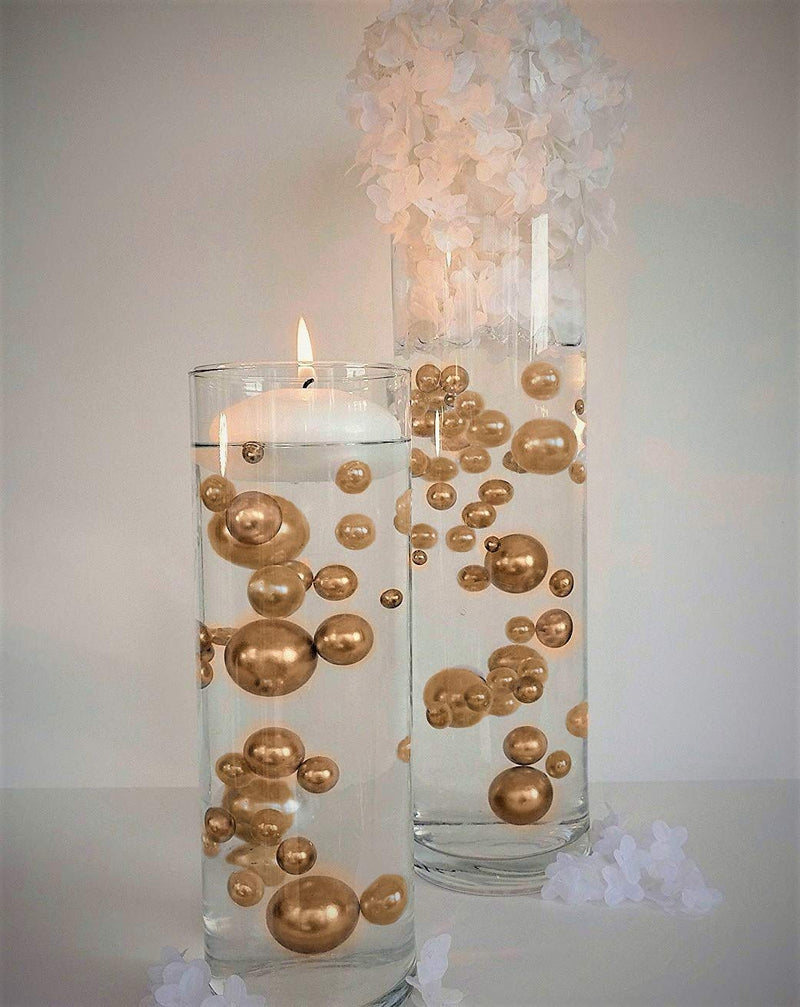 "3.25"" Gold Floating Candles. Set of 3 Candles-Unscented"