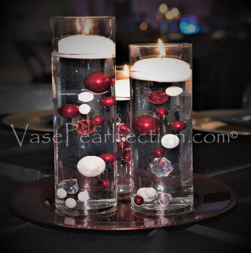 Christmas Red, Green and Sparkling Diamond Gems  - Jumbo/Assorted Sizes Vase Decorations & Table Scatter