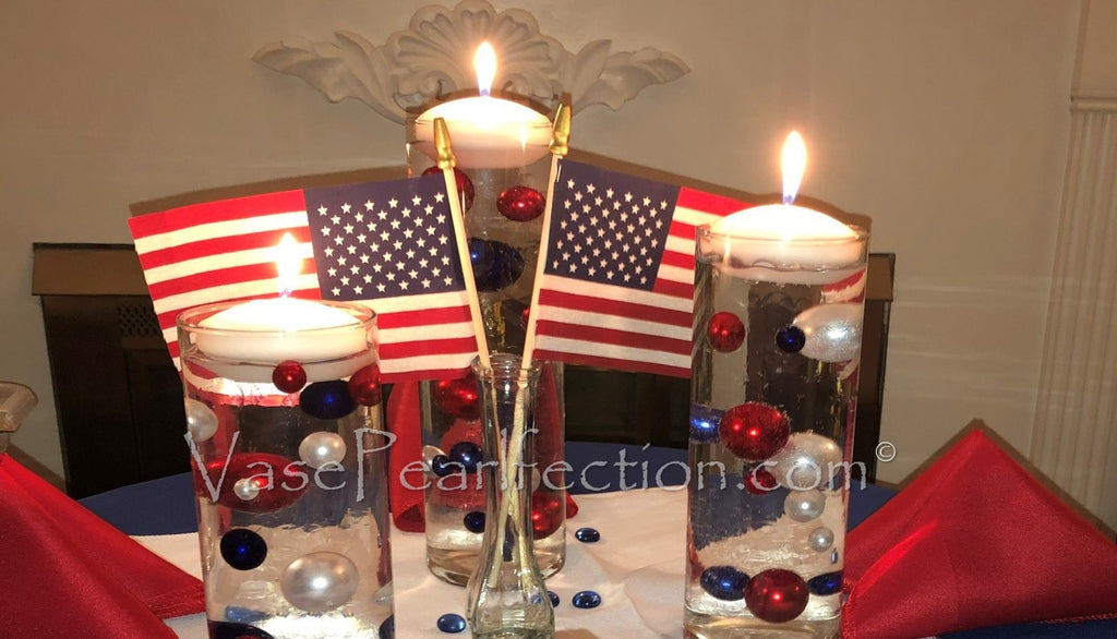 100 Floating Patriotic Red, White and Blue Pearls & Star Gems - Jumbo & Assorted Sizes Vase Decorations and Table Scatter