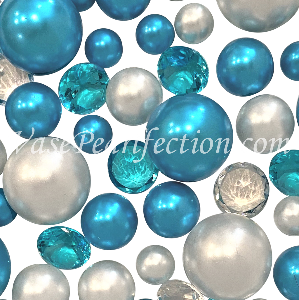 120 Floating Blue Turquoise & White Pearls with Matching Sparkling Gem Accents - No Hole Jumbo & Assorted Sizes Vase Decorations and Table Scatters