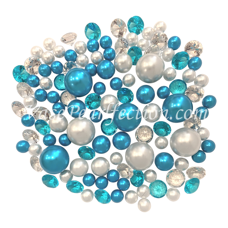 120 Blue Turquoise & White Pearls w/ Gems Accents - No Hole Jumbo/Assorted Sizes Vase Decorations and Table Scatters