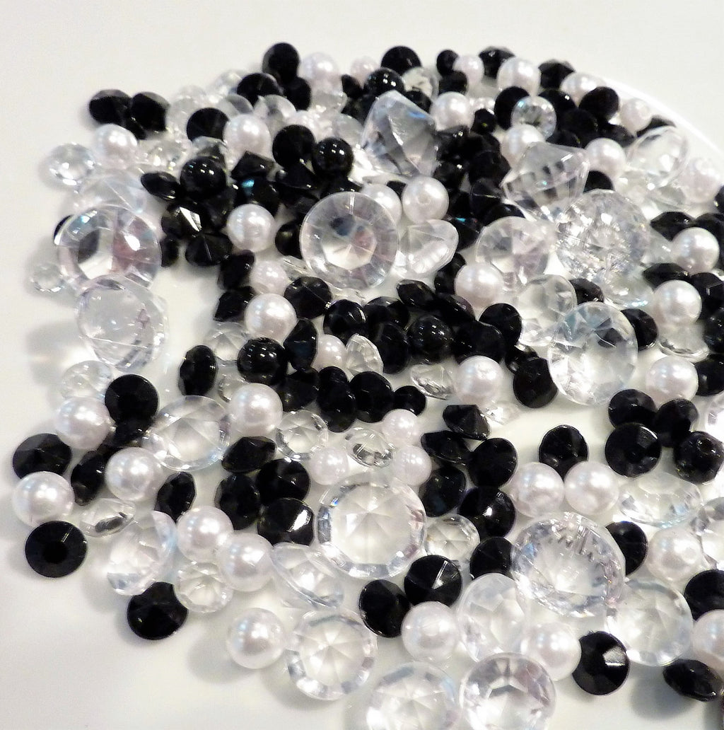 Tiny White Pearls with Clear, Black & Red Diamond Cut Table Scatter Mix