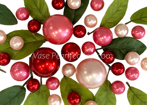 Floating Extra Jumbo Heart with Garland of Iridescent Rose Pearls & Ivory Pearls - DIY Vase Decorations & Table Scatter