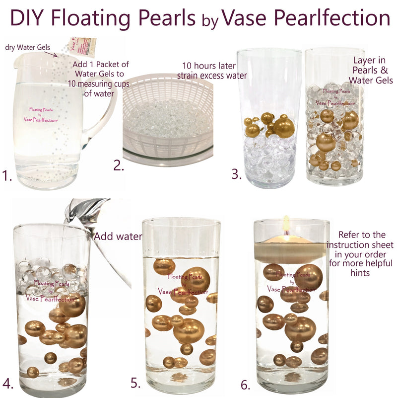 120 Floating Plum & White Pearls with Matching Sparkling Gem Accents- Jumbo/Assorted Sizes Vase Decorations and Table Scatter