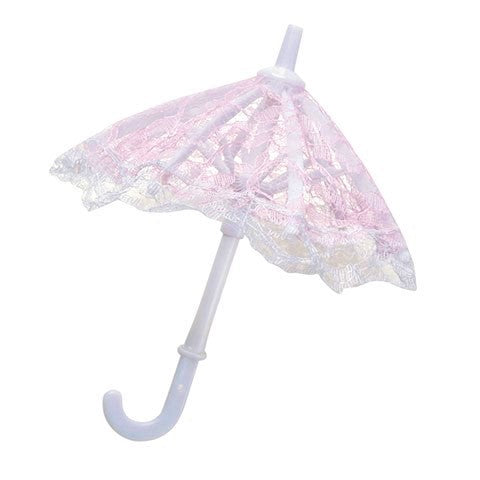 "Mini Lace Umbrellas - Pink - 7"" - 6 pc"