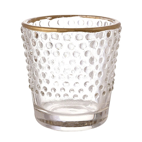 Bubbles Glass with Gold Rim Votive & Tea Light Candle Holder