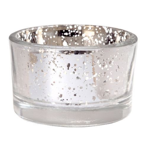 Silver Mercury Glass Tea Light Candle Holders - Set of 6