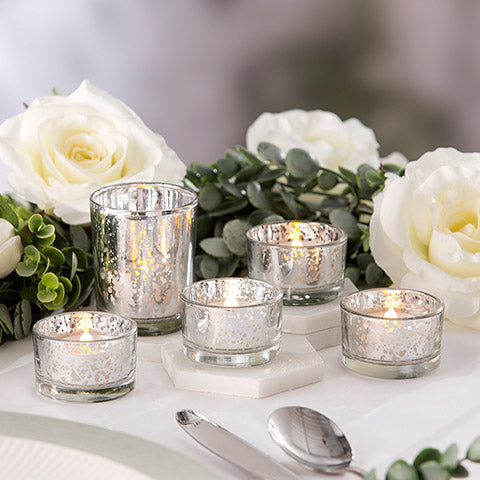Silver Mercury Glass Votive & Tea Light Candle Holder