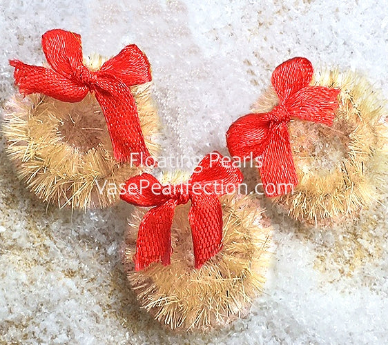 Floating Rustic Miniature Wreaths & Snow Winter Wonderland for Centerpieces