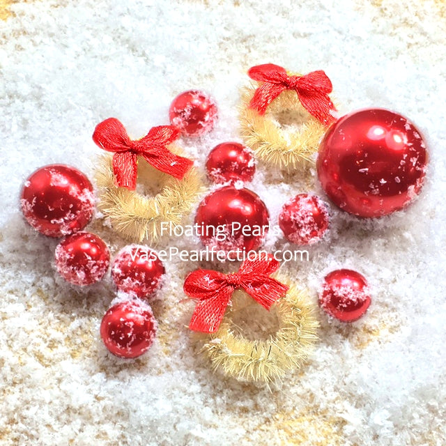 Floating Rustic Miniature Wreaths, Snow & Red Pearls Winter Wonderland Vase Decorations