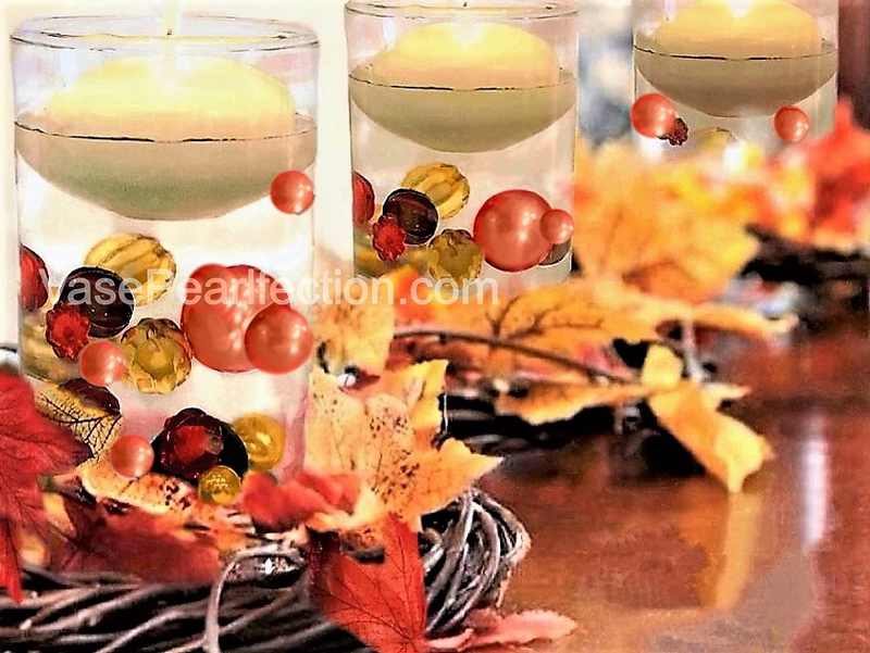 Floating Fall, Thanksgiving Pumpkins & Pearls - Jumbo/Assorted Sizes Vase Decorations & Table Scatter
