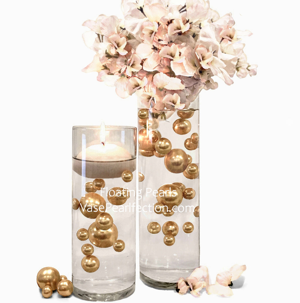 120 Floating Gold Pearls & Matching Sparkling Gem Accents - No Hole Jumbo & Assorted Sizes Vase Decorations and Table Scatters