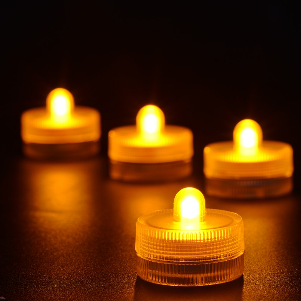 Gold/Light Amber Submersible LED Tea Lights - Waterproof