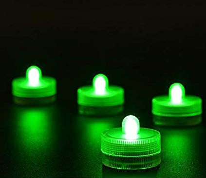 Green Submersible LED Tea Lights - Waterproof