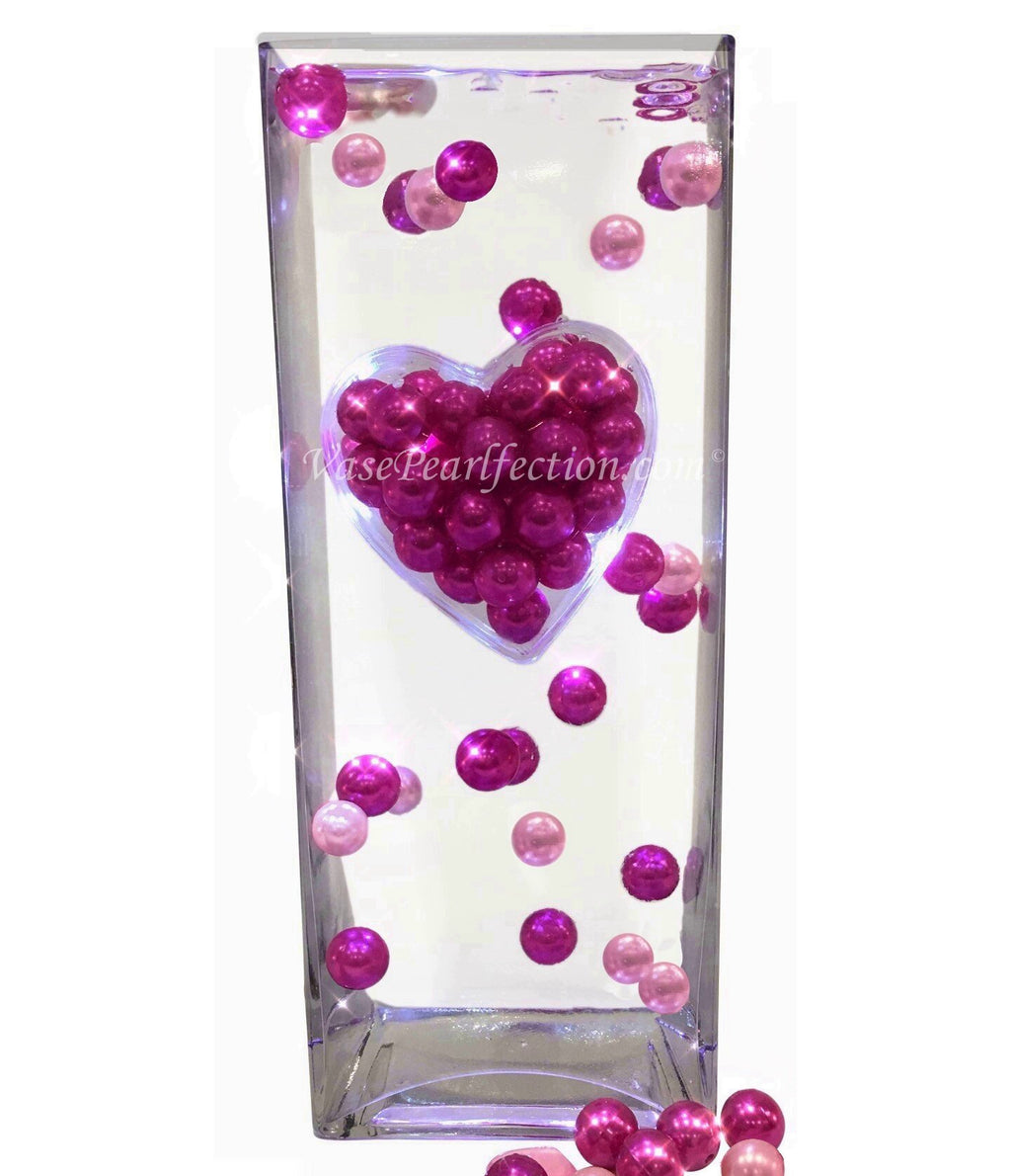 Floating Extra Jumbo Heart with Hot Pink & Light Pink Pearls- Jumbo/Assorted Sizes DIY Vase Decorations