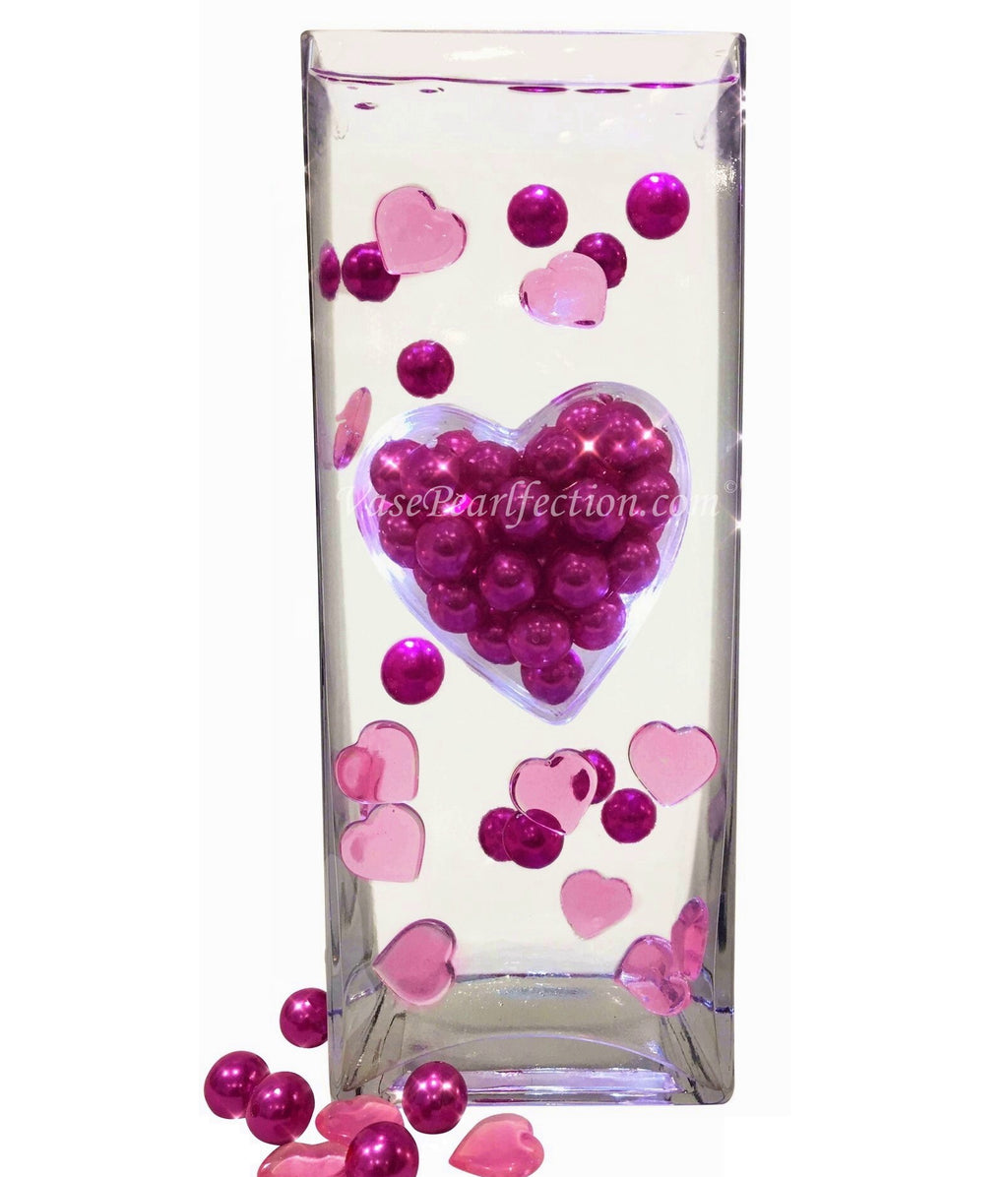 Floating Extra Jumbo Heart with Hot Pink Pearls & Heart Gems- DIY Vase Decorations & Table Scatter