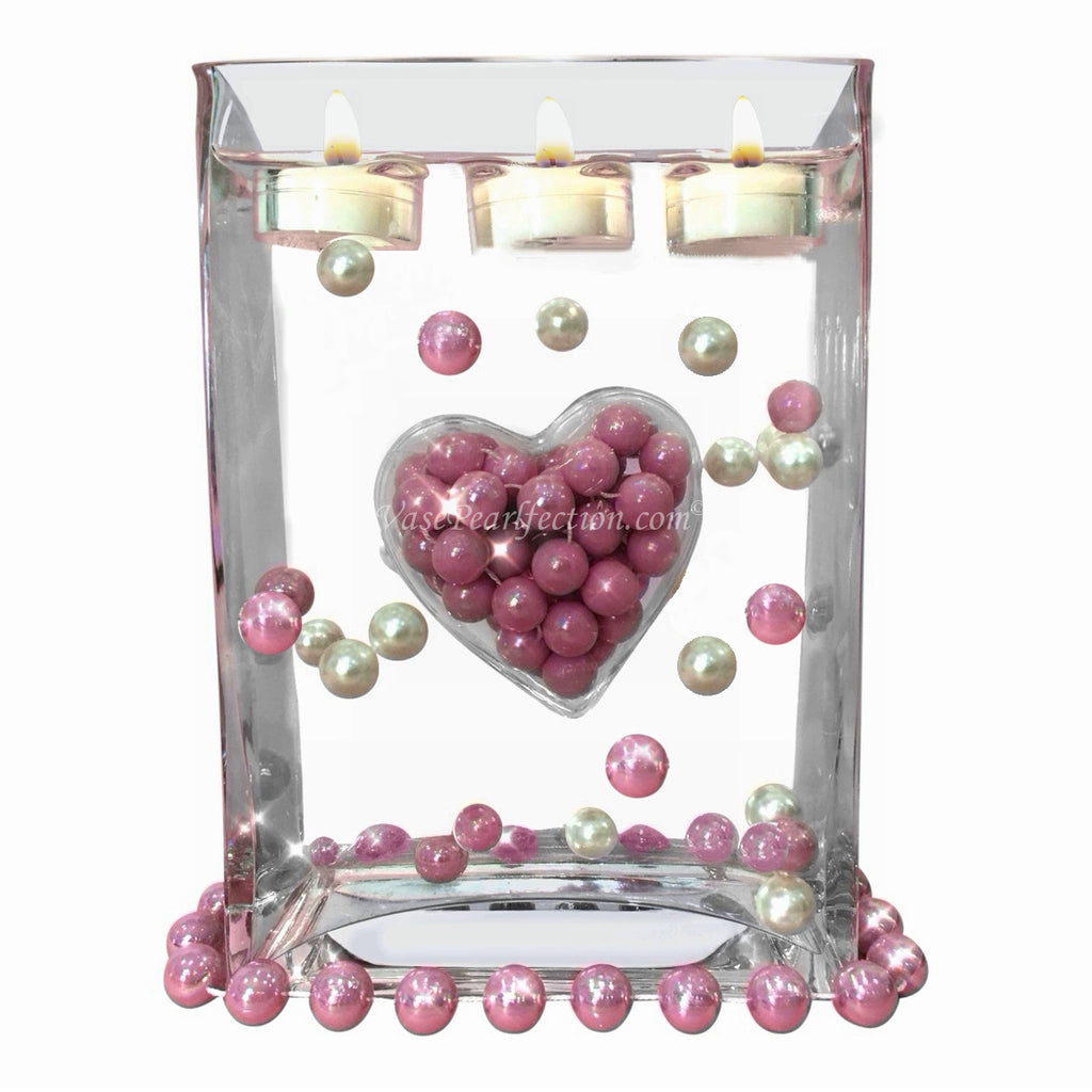 Floating Extra Jumbo Heart with String of Iridescent Rose Pearls & Ivory Pearls - Jumbo/Assorted Sizes DIY Floating Vase Decorations and Table Scatter