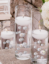 120 Blush Pink & White Pearls with Sparkling Gem Accents- No Hole Jumbo & Assorted Sizes Vase Decorations and Table Scatters